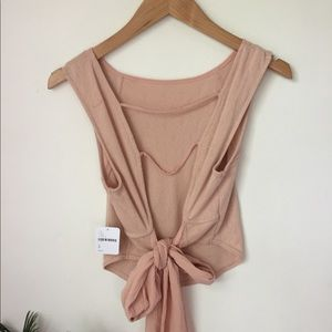 RARE Free People  crop tank with open back and tie